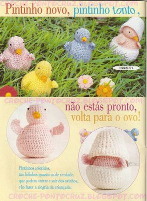 ♥Croche♥: ♥ Bichinhos pintinho no ovo e fora de crochet