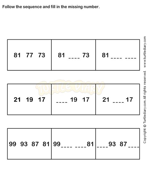 Number Sequence Worksheet 7 math Worksheets kindergarten – Math Worksheets Patterns and Sequences