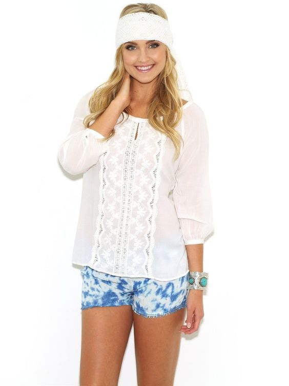 West Coast Wardrobe White Sands Embossed Top in White on shopstyle.com