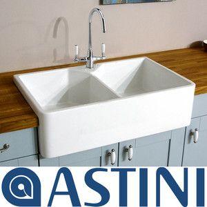 astini belfast 800 20 bowl traditional white ceramic kitchen sink waste tap ebay - Double Ceramic Kitchen Sink