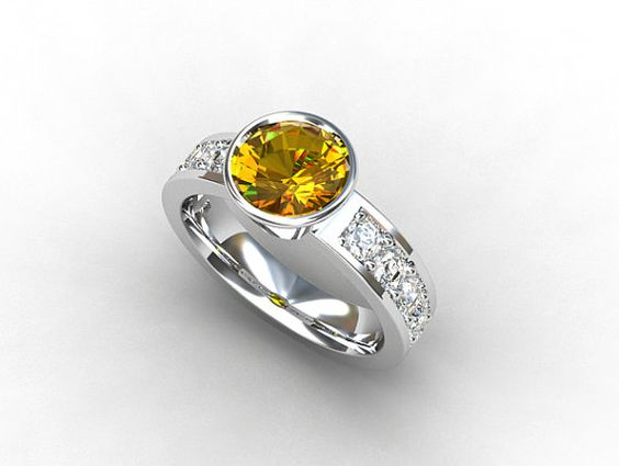 Citrine engagement ring with white sapphires made from white gold by TorkkeliJewellery, $1670.00