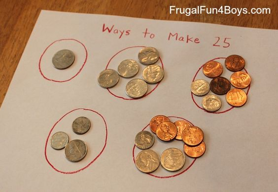 Hands-on Practice with Counting Coins  Exploring different ways to make 25 cents with real coins. Great blog!  frugalfun4boys.com
