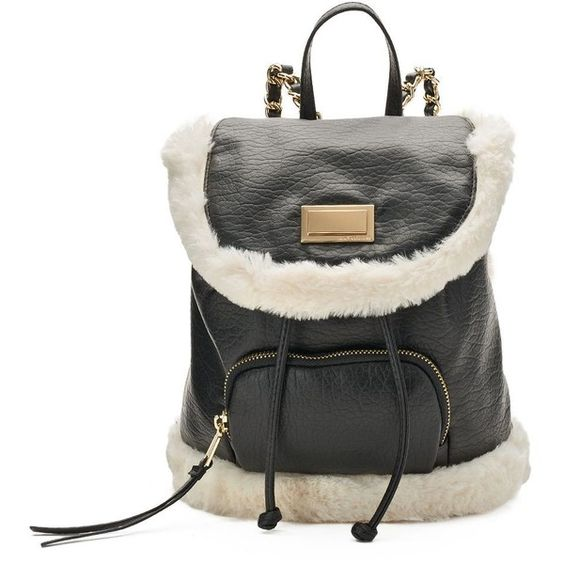 Juicy Couture Faux-Fur Trim Backpack ❤ liked on Polyvore featuring bags, backpacks, day pack backpack, juicy couture, chain bag, backpack bags and juicy couture backpack