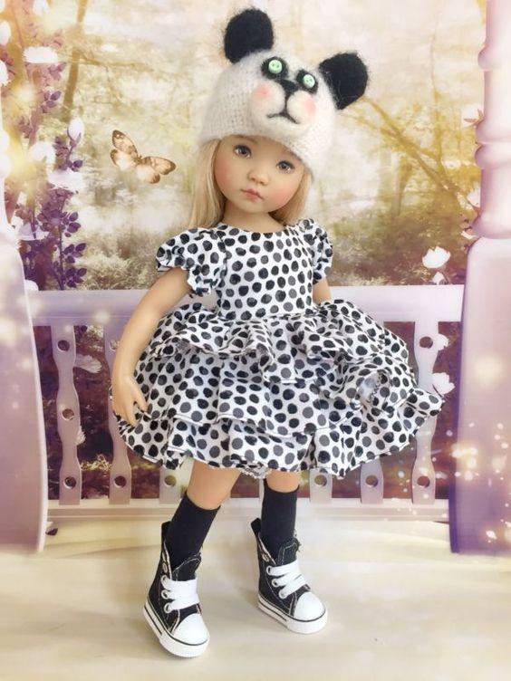 Dianna Effner Little Darling Boneka Sister Dress Panda Set Outfit Hat