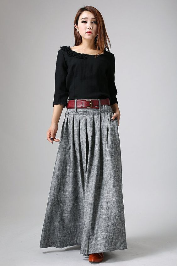 Grey Maxi Skirt - Long Linen Skirt - Pleat Skirt-Woman Skirt-Pleat Maxi Skirt-Full Skirt-Summer ...