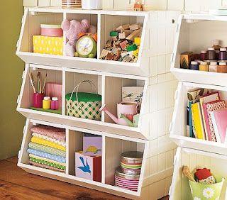 Storage using plain veggie bins (looks like the expensive Pottery Barn shelves!)