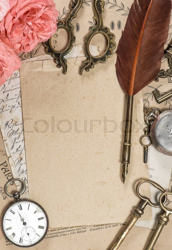 Stock Image Of Old Letters And Antique Feather Pen Vintage Style Still Life Paper Background Vintage Retro B Old Paper Background Fancy Pens Feather Pen
