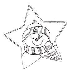 star shape card w/snowman image - star template