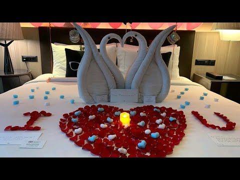 Bedroom Decoration For Wedding Night Towel Art Design Honeymoon Setups Youtube In 2020 Wedding Night Bedroom Decor Wedding Decorations