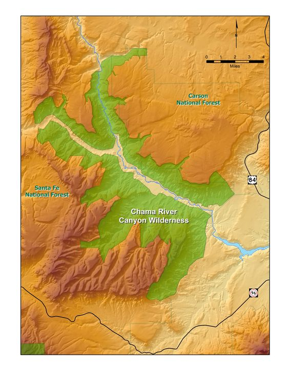 Map of New Mexicos Chama River Canyon Wildernessa great place – Map of Mexico Rivers