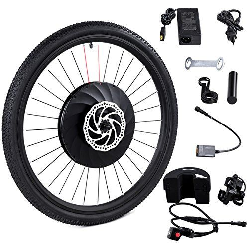 Goplus 26 Front Wheel Electric Bike Conversion Kit E Bike With Battery And Usb Charger 36v 240w Electric Bike Conversion Electric Bike Kits Electric Bike
