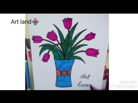 رسم إناء للزهور رسم اناء ورد بسيط وجميل للمبتدئين والأطفال خطوه بخطوه رسم مزهريةflowers Vase Drawing Youtube Art