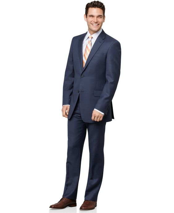 Tommy Hilfiger Blue Sharkskin Trim-Fit Suit Separates - Suits
