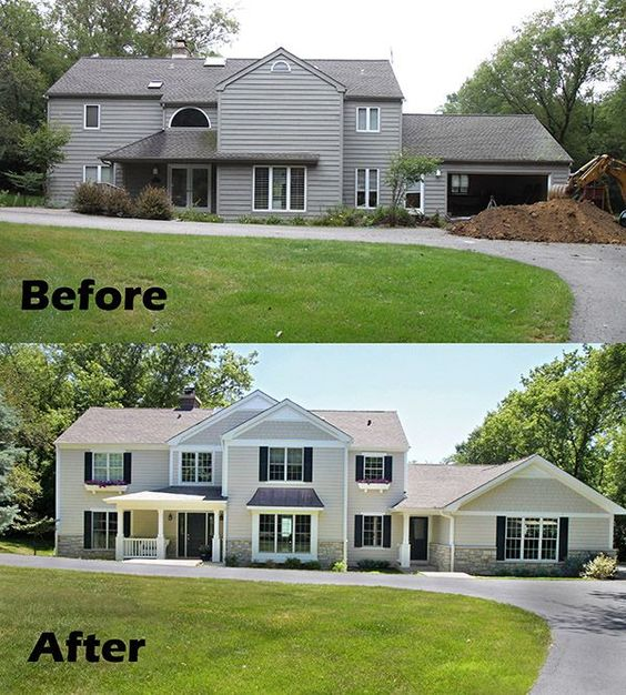 Before and after home remodel home improvements pinterest local contractors entrance for Before and after home exteriors remodels