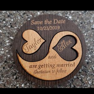 Personalised Save The Date Wedding Invite Magnets CherryWood Laser Engraved