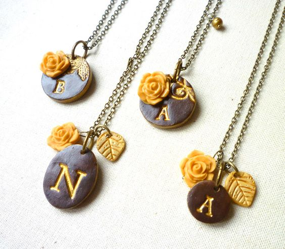 Fall Wedding - Bridesmaid necklace - Set of 4 by Palomaria on Etsy https://www.etsy.com/listing/103854995/fall-wedding-bridesmaid-necklace-set-of