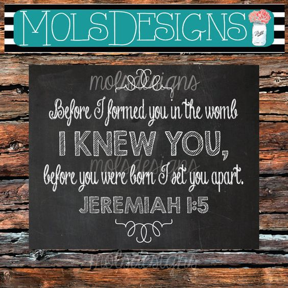 JEREMIAH 1:5 BEFORE I Formed you in the womb I knew you, Before you were born I set you apart BOY Nursery Baby Shower Decor Art Print 8x10