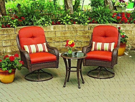 Patio Swivel Chair Set Garden Furniture Outdoor Wicker