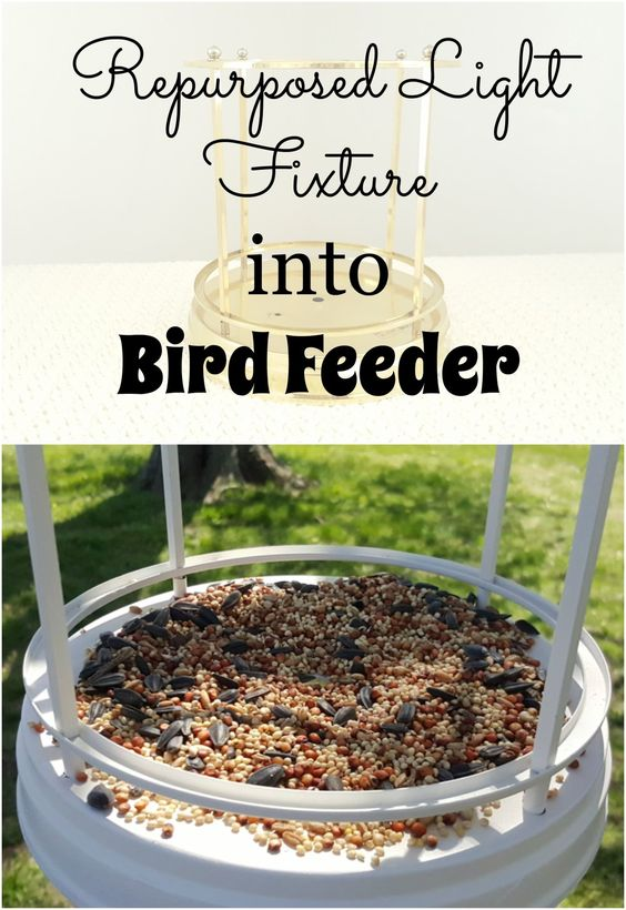 Repurposed Light Fixture into Bird Feeder Pin It