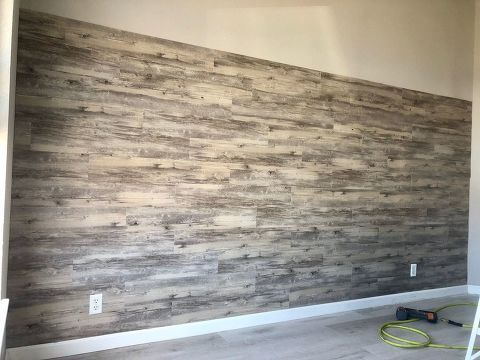 Diy Peel And Stick Vinyl Plank Accent Wall Plank Wall Bedroom Flooring On Walls Accent Wall