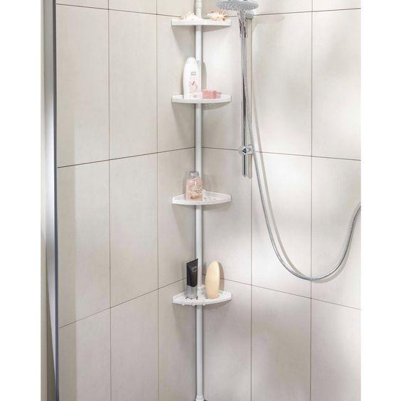 Eckregal mit Teleskopstange - Badezimmer - Räume - Dänisches Bettenlager, 15€