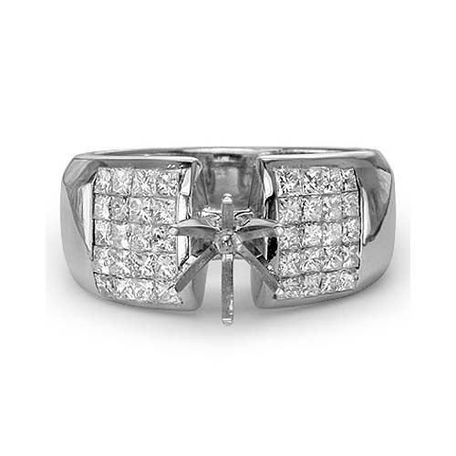 1.50 PRINCESS CUT DIAMOND ENGAGEMENT RING MOUNTING SETTING 14k WHITE GOLD At-http://www.larrysfinejewelryinc.com