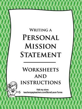 Personal Mission Statement Worksheets | General | Pinterest | The ...