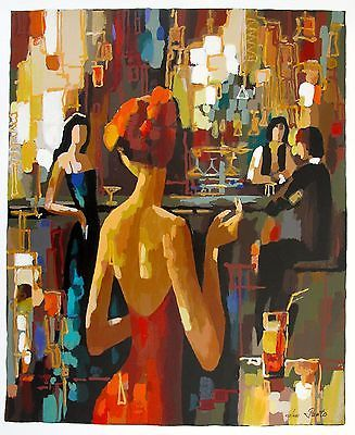 Photo Realism Acrylic Paintings | Nelly Panto Red Dress Hand Serigraph Oil Paintings Canvas Painting ...