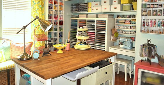 Key elements of a creative room are a comfy chair, good light, a table where you can work, and a place to organize and store supplies,