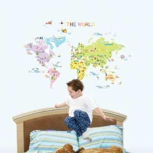 Sticker mural pour chambres d'enfants : carte du monde