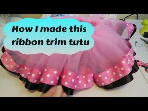 How I make a ribbon trim tutu with half the ribbon ~ Tutorial - YouTube