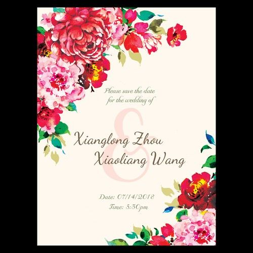 Single Page Wedding Invitation With Red Flower Theme Card Or Invitation Contest Design Card Invitation Picked Wedding Invitations Invitations Mexican Fonts