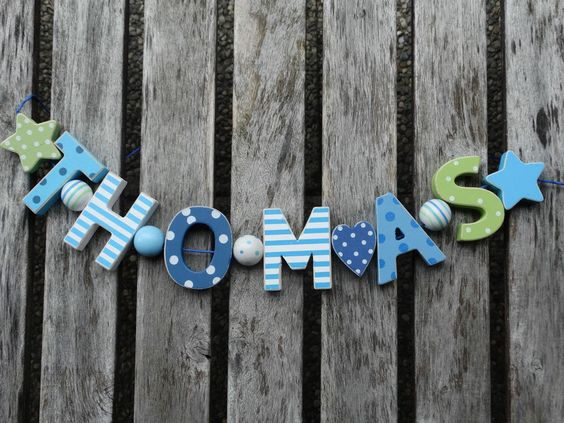 THOMAS WOODEN LETTERS DOOR NAME DECORATION PERSONALISED SHABBY CHIC BABY NURSERY