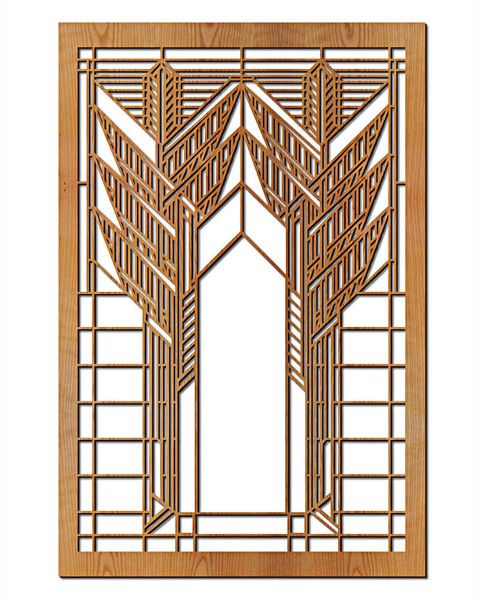 Frank Lloyd Wright Double Dana Sumac Wood Art Screen Wall Panel Wood Panel Walls Wall Paneling Wood Wall