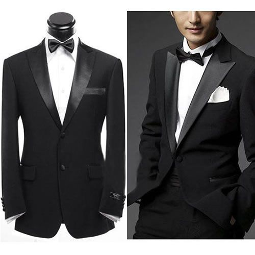 Men Black Slim Fit Two Button Dress Business Wedding Prom Suit