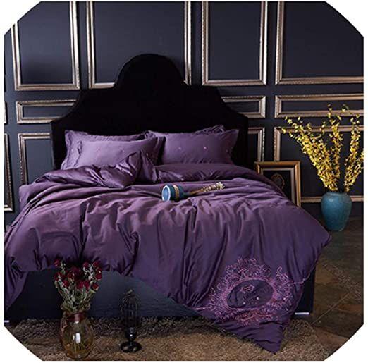 Luxury White Golden Cotton Royal Bedding Sets Queen King Size Duvet Cover Bed Sheet Set Pillowcase 4pcs 6 Duvet Bedding Sets Purple Bedding Sets Bed Sheet Sets