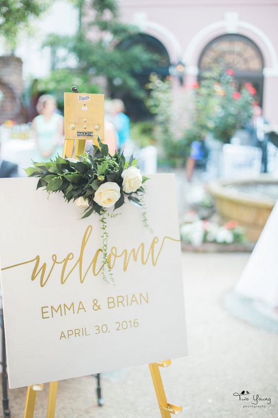 Welcome Wedding Sign Gold White Wood Gold Foil