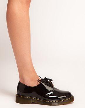 Dr Martens – 1461 – Klassische, flache Schuhe in schwarzem Lack