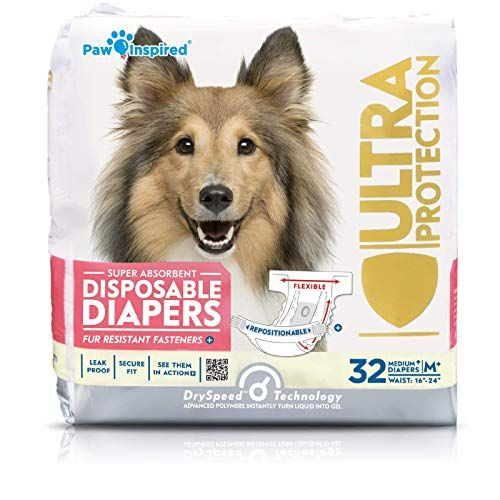 Paw Inspired 32ct Disposable Dog Diapers Female Dog Diapers Ultra Protection Diapers For Dogs In Heat Excitable Urination Or Incontinence Medium Plus Dog Diapers Female Dog Diapers Dog In Heat