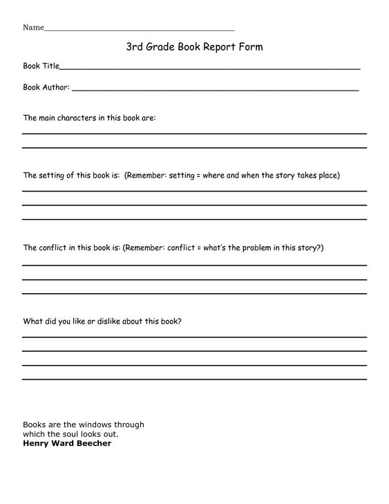 3Rd Grade Book Report Sample - Google Search | Education Stuff