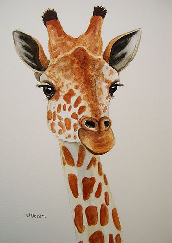 Giraffe portrait painted by Maria Moss