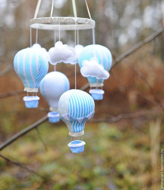 Купить Мобиль в кроватку нежно голубой - голубой, белый, облака, мобиль, мобиль в кроватку
