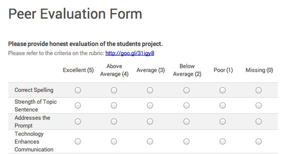 Google for Education Delivering Peer Feedback with Google Forms - peer evaluation form