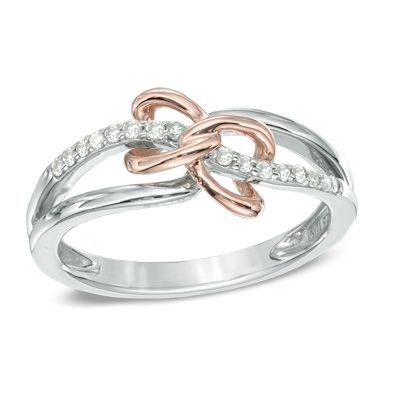 1/10 CT. T.W. Diamond Heart Duo Ring in Sterling Silver and 10K Rose Gold - Size 7