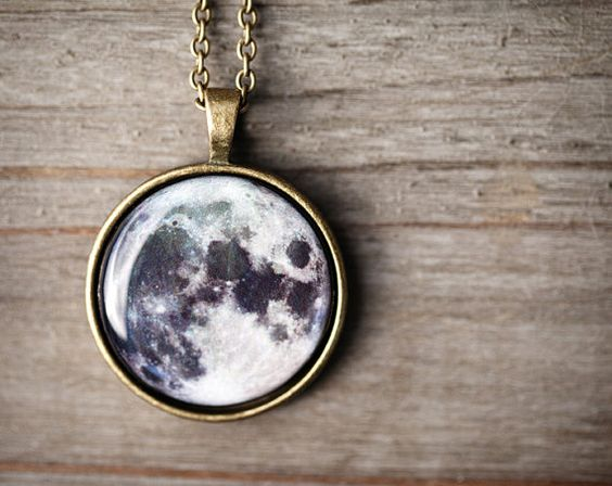 Full moon necklace Moon jewelry Space Jewelry by BeautySpot