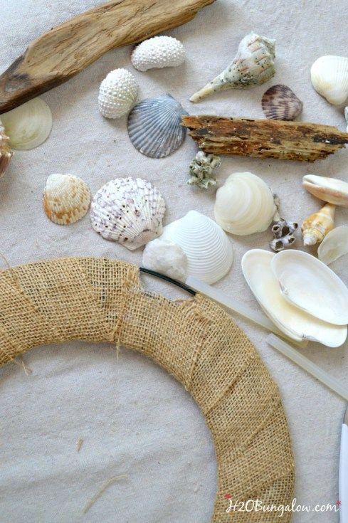 Diy seashell and driftwood wreath seashells driftwood for Large seashells for crafts