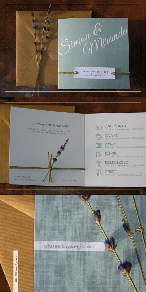 Deze romantische trouwkaart heeft een rustieke en natuurlijke uitstraling dankzij het label dat met touw vastgeknoopt wordt aan de kaart. De gedroogde lavendel geeft een heerlijke geur aan de kaart. De kleur oud groen geeft een vintage 'touch' en zorgt dat het goed past bij een bruiloft met een landelijk thema. Origineel en stijlvol door papier met linnen textuur. | uniek kaartje