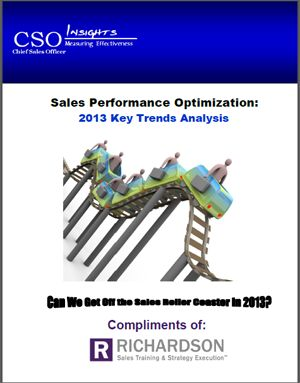 the CSO Insights 2013 Sales Performance Optimization Survey identify some of the major trends that positively and negatively impacted sales behavior in 2012 and overview the eight key attributes found in high performance sales organizations.