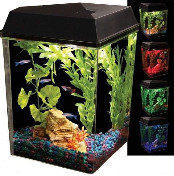 Details About 2 5 Gallons Aquarium Kit Fish Tank Aquaview Corner Led Lighting Filter Desktop Aquarium Kit Corner Aquarium Fish Tank For Kids