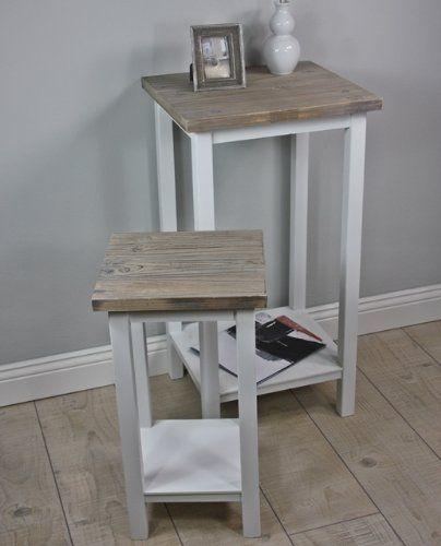 http://ift.tt/1TVk6FN Telefontisch Set Tisch Holz weiß antik Landhaus Beistelltisch massiv braun NEU @cheapiike%#